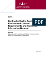 Contractor Health, Safety and Environment Contract Requirements and Preliminary Information Request