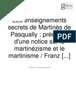 Enseignements Secrets Martinez de Pasqualy