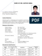 Resume of Md. Sayeed Iqbal