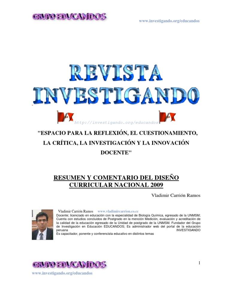 Diseno Curricular Nacional 2009 Resumen Y Comentario