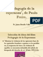 Pedagogía de la esperanza¨, de Paulo Freire. Ps. Jaime Botello Valle