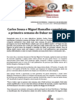 COMUNICADO DE IMPRENSA - CARLOS SOUSA - BALANÇO 1ª SEMANA DAKAR'2013