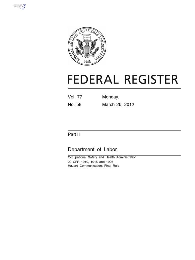 OSHA Hazard Communication _GHS Final Rule - 2012 | Occupational