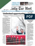 The Daily Tar Heel for January 14, 2013