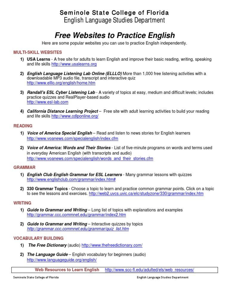 Free English Grammar Exercises