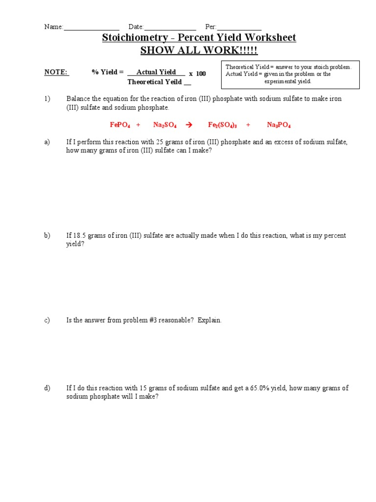 worksheet Percent Yield Worksheet Answers Emptystretch Worksheet – Percent Yield Worksheet