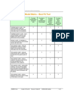 Benchmarking model matrix best fit tool.