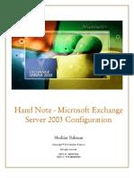 Hand Note - Microsoft Exchange Server 2003 Configuration