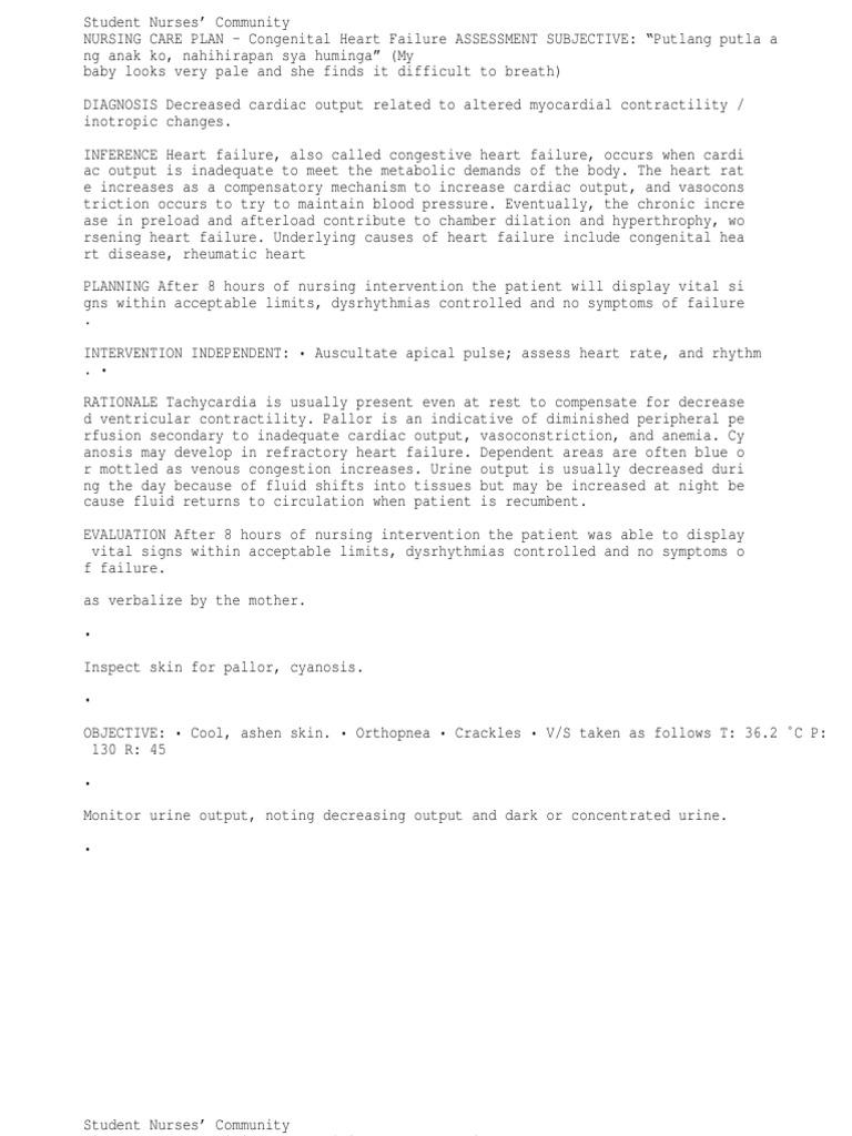 15672007 Nursingcribcom Nursing Care Plan Congestive Heart ...