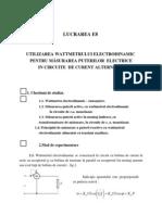 Utilizarea wattmetrului electrodinamic