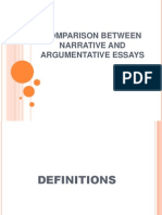 Comparison Between Narrative and Argumentative Essays