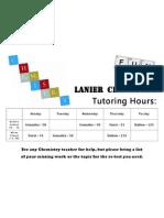 team chemistry tutoring hours -fall 2012
