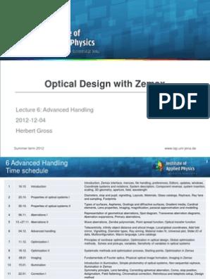 ODZ_Optical Design With Zemax 6 Advanced Handling   Optics   Lens