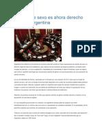 Cambio de Sexo Es Ahora Derecho Legal en Argentina