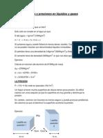 Fuerzas y presiones en líquidos y gases. laboratorio