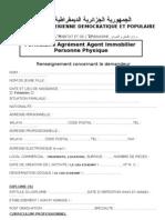 Formulaire Demande Agrement Agent Immobilier Personne Physique