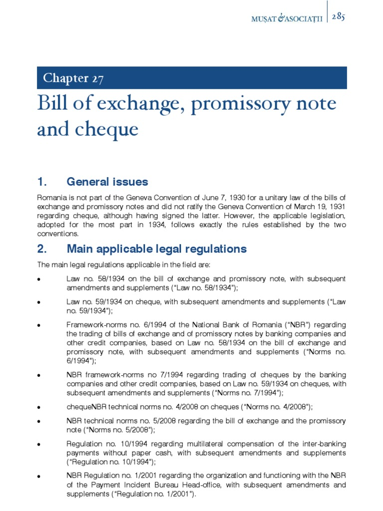 bill of exchange and promissory note
