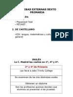 Pruebas externas Inglés 6º de Primaria