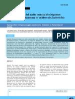 Efecto sinérgico del aceite esencial de Origanum vulgare a la Gentamicina en cultivos de Escherichia coli.