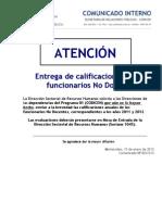 Com. Nº 001/013 Calificaciones de funcionarios no docentes de CODICEN