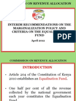 Interim Recommendations On The Marginalization Policy And Criteria On The Equalization Fund
