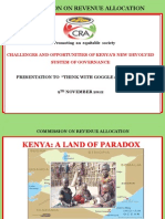 CRA Presentation On Challenges And Opportunities Of Kenya's New Devolved System Of Governance - 9th November 2012
