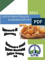 Costos industriales en la elaboración de pan de yuca