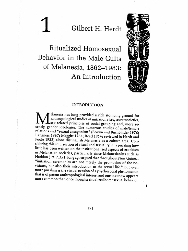 Ritualised homosexuality in melanesia