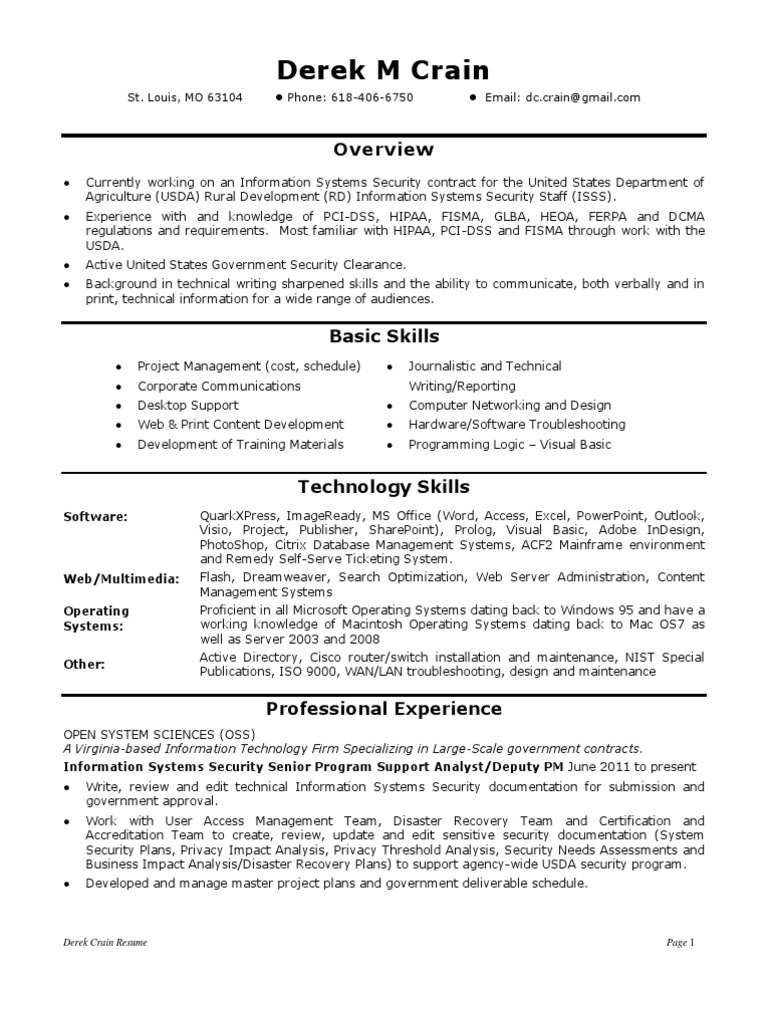 information systems security analyst in st louis mo resume derek crain - Security Clearance On Resume