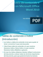 Crear Tabla de contenido e Indice en Word 2010