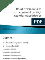 Rolul fizicianului în controlul calității radiofarmaceuticelor