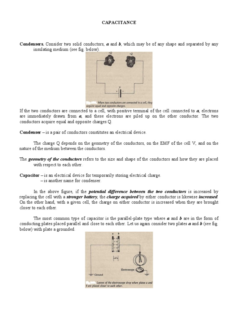 Electrical Capacitance And Charge On A Capacitors Plates