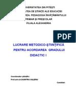 lucrare metodico-stiintifica de acordare a gradului didactic I