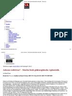 Adorno Redivivus_ - Martin Seels Philosophische Aphoristik