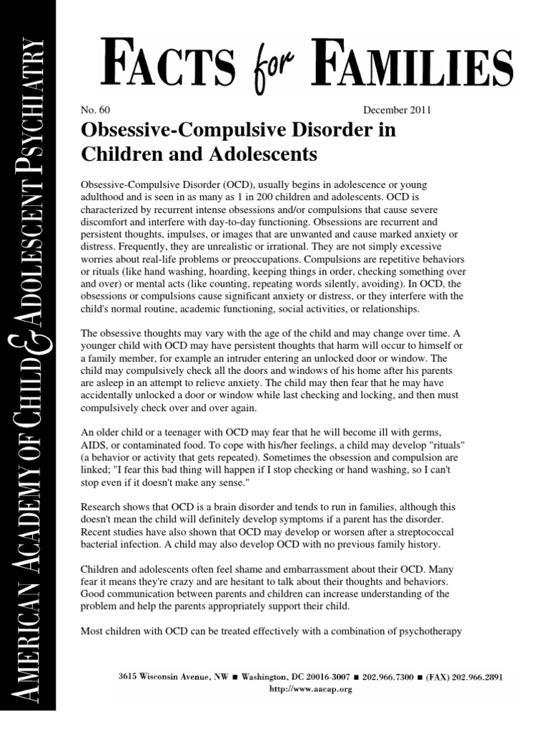 obsessive compulsive disorder research papers Obsessive-compulsive disorder ocd stands for obsessive-compulsive disorder an individual with ocd tends to worry about many different things on average, one out of fifty adults currently suffer from this disorder, and twice that many have had it at some point in their lives.