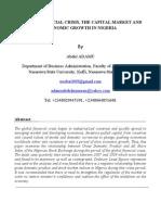 GLOBAL FINANCIAL CRISIS AND NIGERIAN CAPITAL MARKET