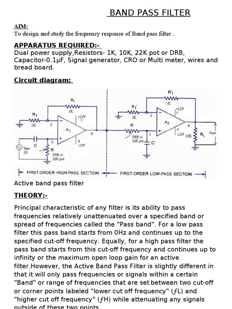 Band Pass Filter Electronic Frequency High Diagram