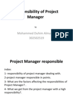 Responsibility of Project Manager