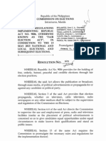COMELEC Resolution 9615 Rules and Regulations Implementing Fair Elections Act (Rules on Election Propaganda)