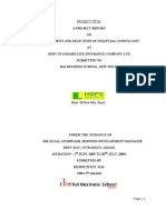 a project report on recruitment and selection of financial consultant in HDFC