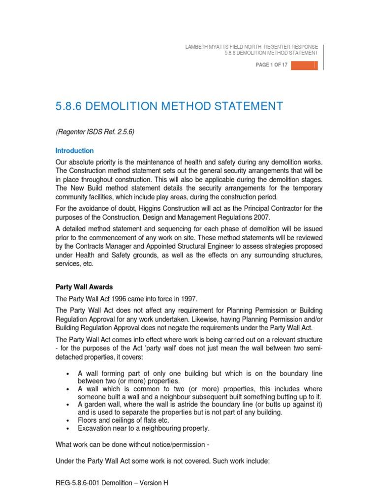 Demolition method statement pdf | Demolition | Occupational Safety
