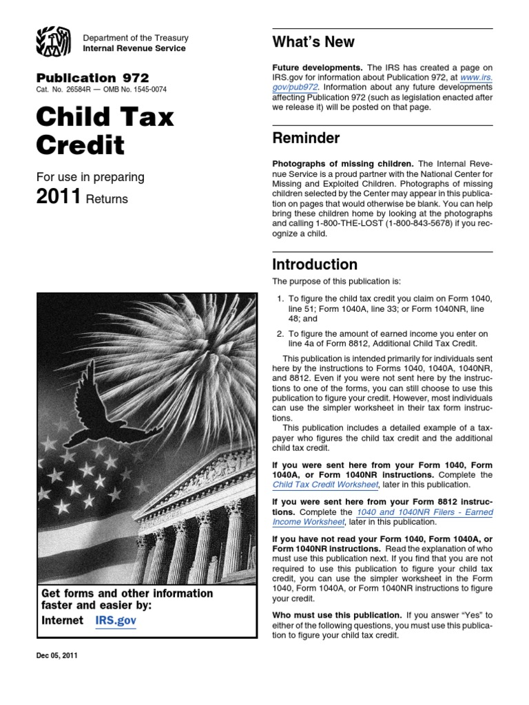 worksheet Irs Child Tax Credit Worksheet irs publication 972