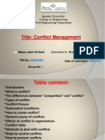 Report in Conflict Management
