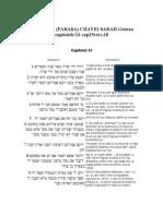 5.PERICOPA (PARAŞA) CHAYEI SARAH Geneza capitolele 23-cap25vers,18