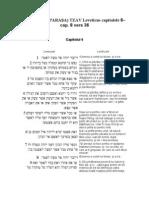 25.PERICOPA (PARAŞA) TZAV Leveticus capitolele 6– cap. 8 vers 36