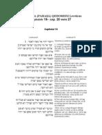 30.PERICOPA (PARAŞA) QEDOSHIM Leveticus capitolele 19– cap. 20 vers 27
