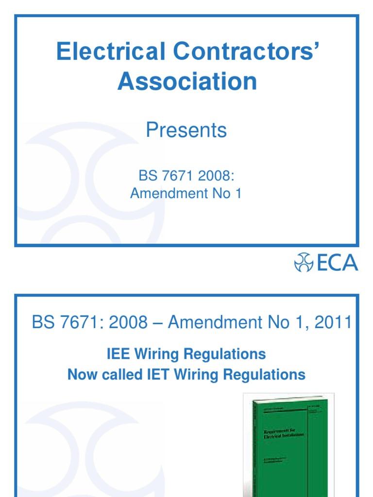 Bs7671 1st Amd July 2011 Gd Iee Wiring Regs
