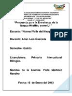 propuesta para la enseñanza de la lengua hñahñu