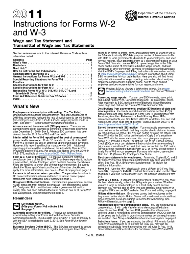 IRS Publication Form Instructions w-2/w-3