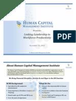 Linking Leadership to Workforce Productivity Webinar